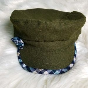 August Forrest Green Plaid navy Wool Cap w/ build